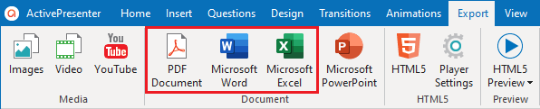 Export Projects to Document Formats: PDF-Word-Excel