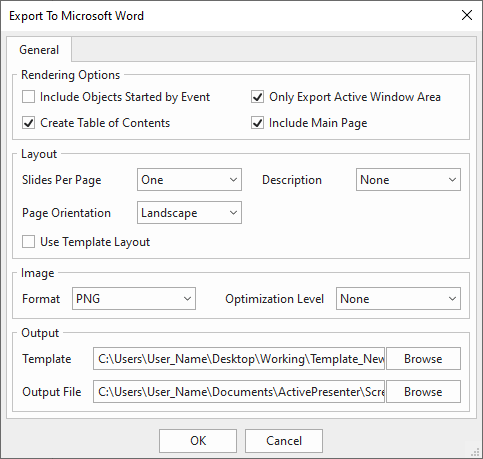 In the Export tab > Microsoft Word. This opens the Export To Microsoft Word window which has four sections: General, Layout, Image, and Output.