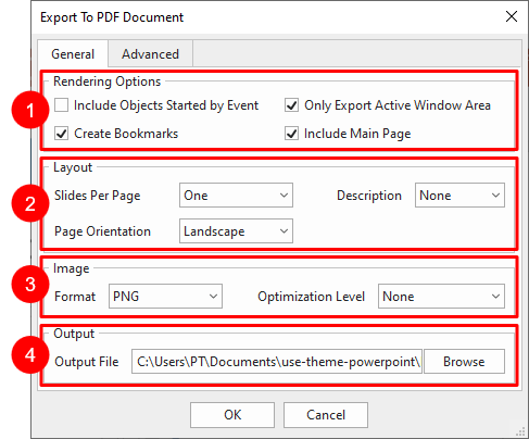 General tab in Export to PDF Document