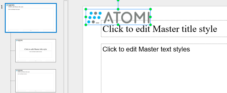 Select the master layout and insert a logo into it (Insert tab > Image).