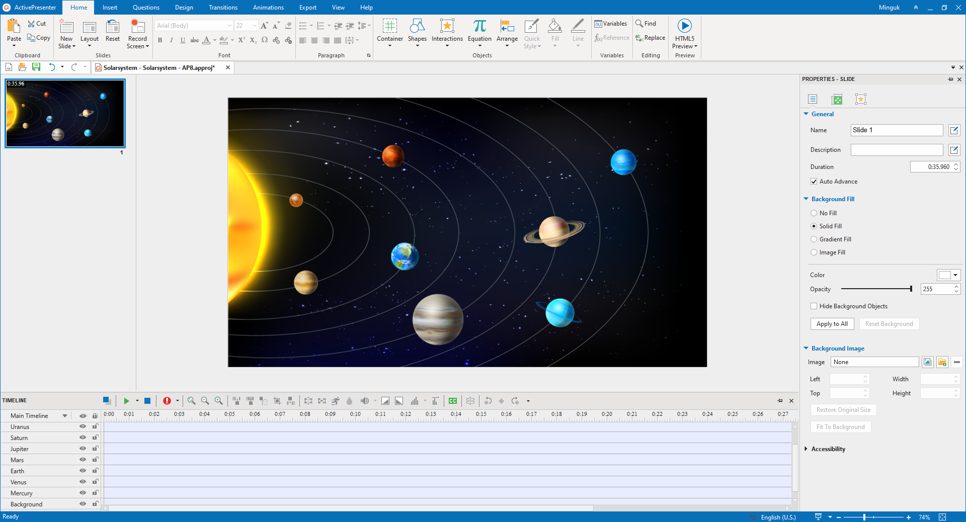 Add Planet Images to Background to create interactive images