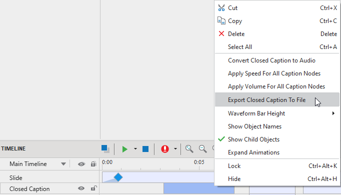 Export closed captions to file