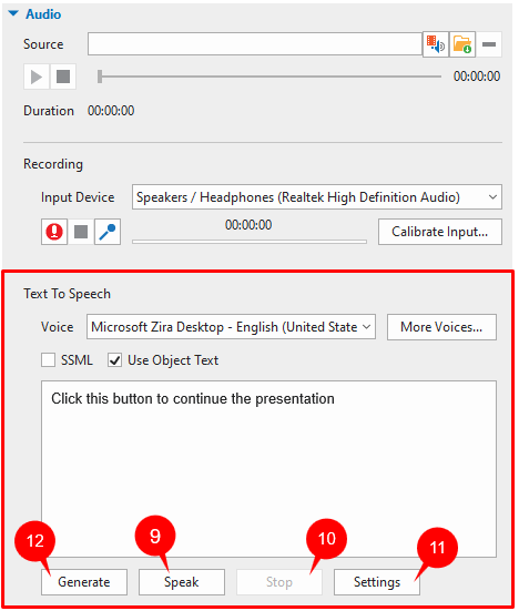 Text to Speech section in the Audio tab.