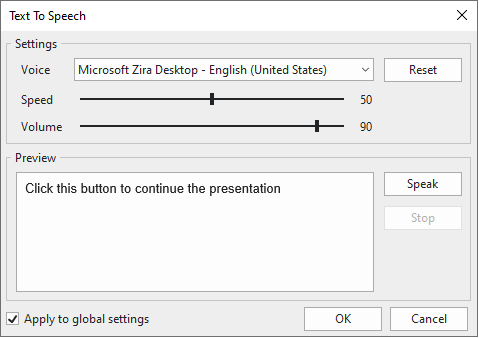 The Text To Speech dialog where you can specify the voice, speed, and volume for the TTS audio.