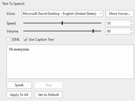Text to Speech section