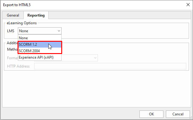The feature of exporting the project as SCORM package is integrated into the Reporting tab of the Export to HTML5 dialog.