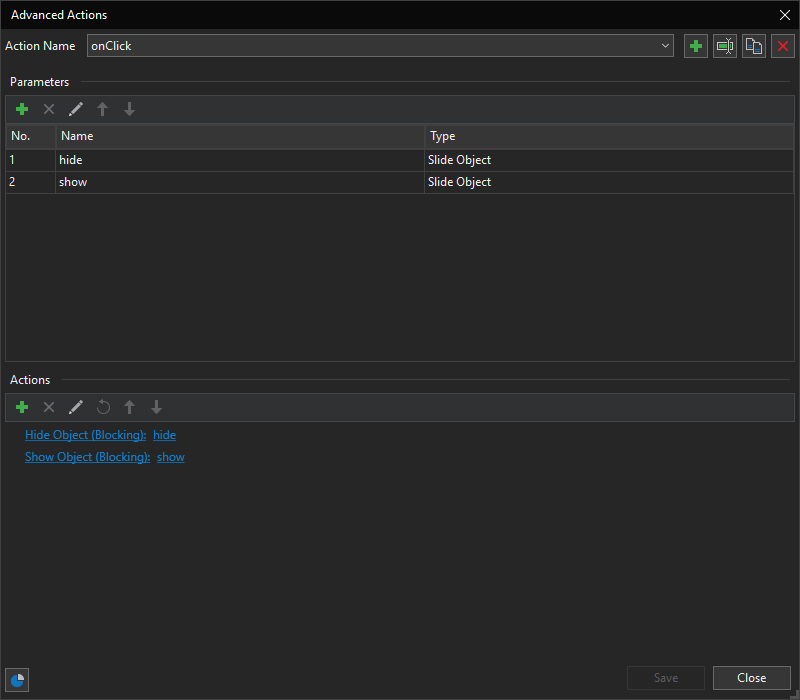 Advanced Actions dialog
