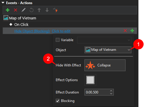 Hide Object action in the front side.
