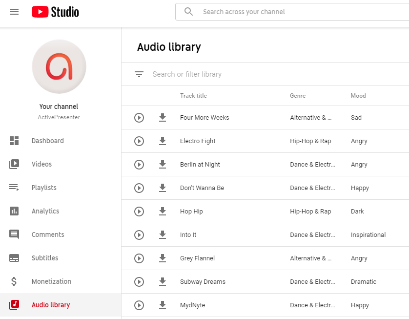1.YouTube Audio Library