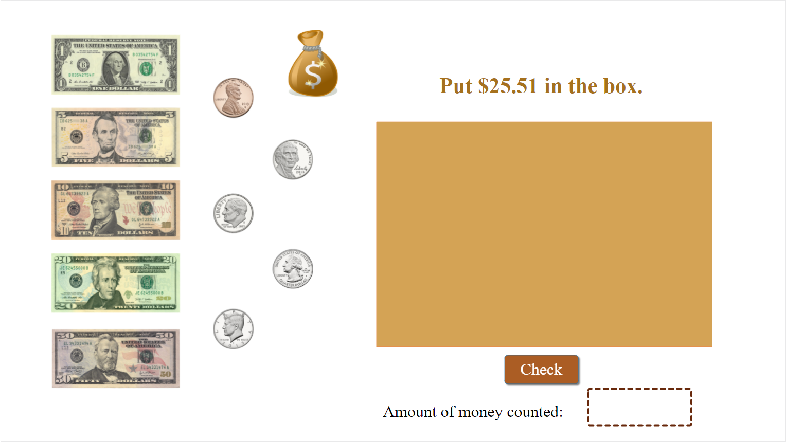 Counting money game