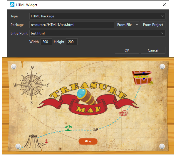 Using HTML widgets is a good way to display a webpage, embedded HTML, or SVG images in a scene.