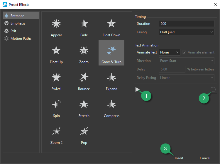 the Preset Effects dialog