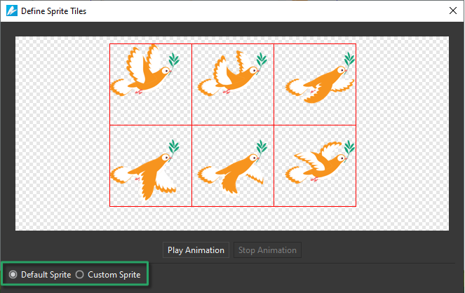 Choose mode for creating sprite sheet animation.
