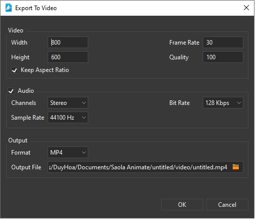 Export To Video dialog