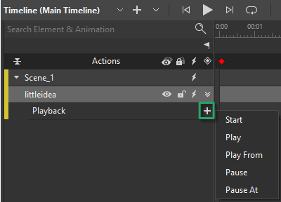 Playback option in the Timeline pane