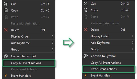 Copy All Events - Actions