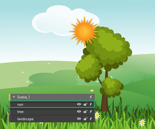 Reorder element using display order tools, the sun is in front of the tree