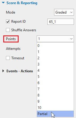 Scoring system, select Partial from the Points drop-down list.