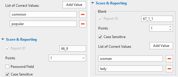 Scoring system, Fill in Text Entries and Fill in Blanks questions.