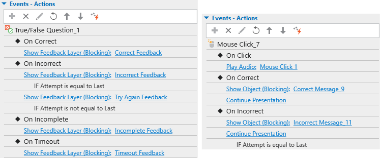 Events-actions for showing feedback